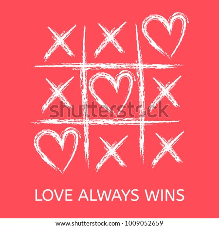 Tic tac toe game with criss cross and heart sign mark. XOXO. Hand drawn brush. Doodle line. Happy Valentines day card. Flat design Isolated. Vector illustration. Hug and kiss, love game.