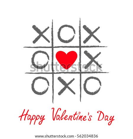 Tic tac toe game with criss cross and red heart sign mark XOXO. Hand drawn brush. Doodle line. Happy Valentines day card Flat design Isolated. White background. Vector illustration Photo stock ©