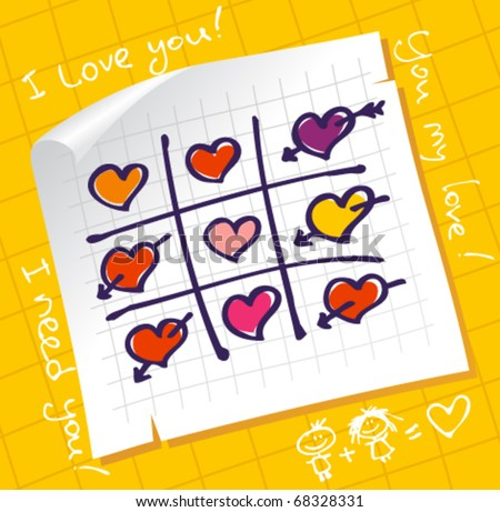 Tic Tac Toe Hearts, Valentine background. - stock vector