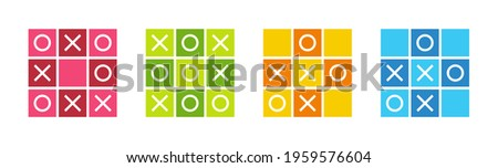 Tic tac toe icons set, noughts and crosses game, xs and os icon collection - Vector Foto stock ©
