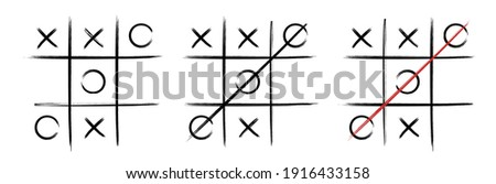 Tic tac toe in Hand drawn style. Doodle black line tic tac toe templates isolated on white background. Vector illustration. Foto stock ©
