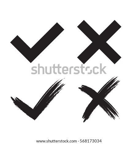 Tick and cross grunge and simple signs. Black checkmark OK and X icons, isolated on white background. Marks design. symbols YES and NO button for vote, decision, web. Vector illustration