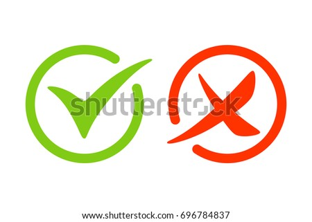 Tick and cross icon. Green and red signs. Vector illustration