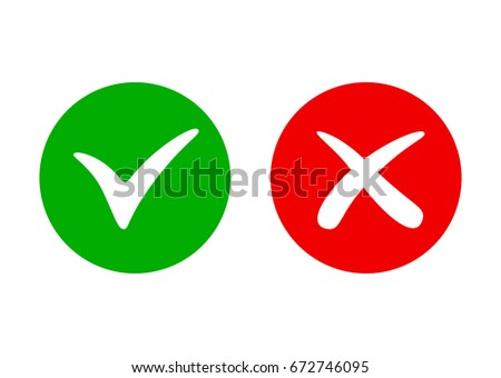 Tick and cross icon. Vector stylish check mark sign.