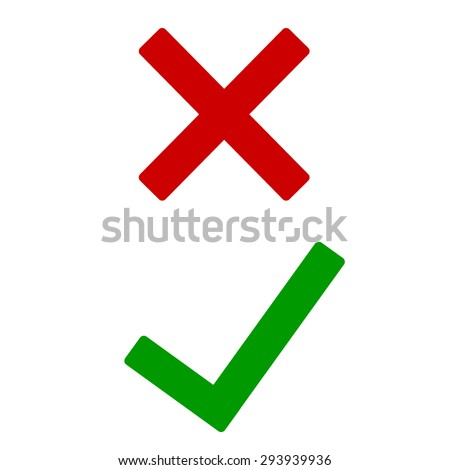 Tick and cross icons, yes no symbols green an red. Vector illustration
