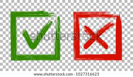 Tick and cross signs, approval icons graphic design. Green symbolic OK and red X check mark in square frames. Acceptance and rejection symbol vector buttons for vote, election choice on transparent.