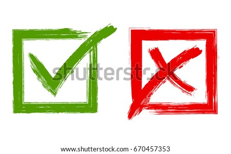 Tick and cross signs, approval icons graphic design. Green symbolic OK and red X check mark in square frames. YES and NO acceptance and rejection symbol vector buttons for vote, election choice.