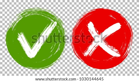 Tick and cross signs, check marks graphic design. Green brush symbolic OK and red X painted approval icons. Acceptance and rejection symbol vector buttons for vote, election choice on transparent.