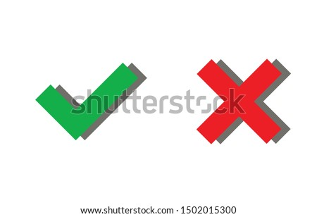 Tick and cross signs, checkmark and x or confirm and deny icon button flat for apps and websites symbol, Isolated sign symbol, Checkmark right symbol tick sign, Test question, checkbox button for choo