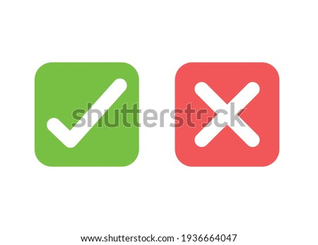 Tick and cross signs. green checkmark and red x isolated icons. check mark symbols. Premium vector