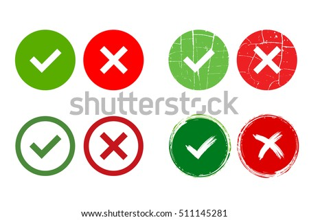Tick and cross signs. Green checkmark OK and red X icons, isolated on white background. Grunge marks graphic design. Circle symbols YES and NO button for vote, decision, web. Vector illustration