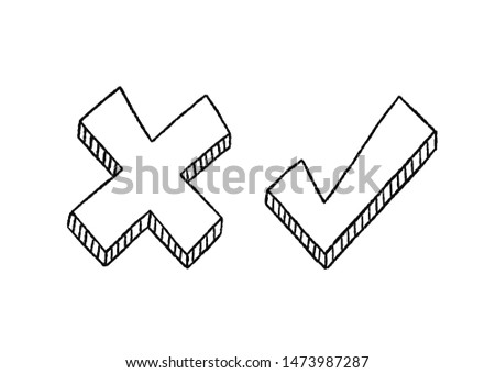 Tick and cross signs. Hand drawn Symbols YES and NO tick cross box signs vote test answer. Brush strokes simple marks graphic design. Vector illustration, isolated.