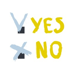 Tick and cross signs. Yes and No button for vote, decision, web. Simple marks graphic design. Approve or deny. Choice, affirmation, negation. Brush drawings of words yes and now. Vector illustration.