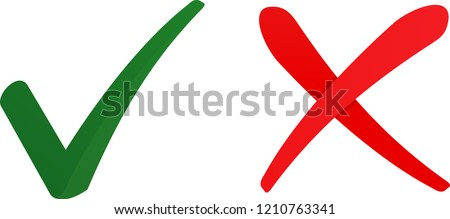 tick and cross symbol icon vector set, can used for accept and delete icons