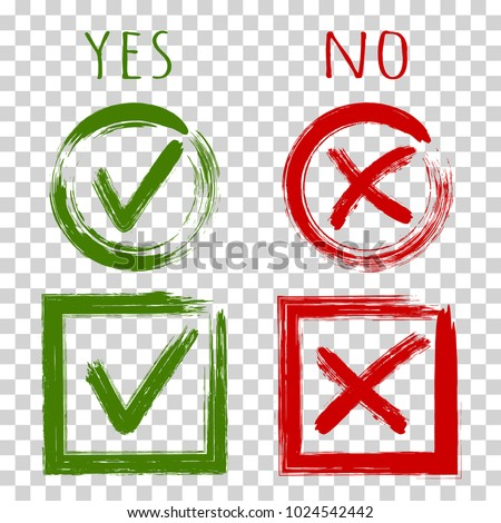 Tick and cross test signs, check marks graphic design set. YES or NO accept and decline symbol vector buttons for vote election choice. Green symbolic OK checkmark, red X icon, isolated on transparent