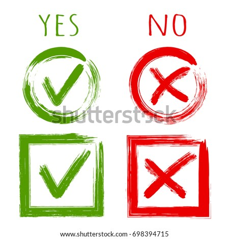 Tick and cross test signs, check marks graphic design set. YES or NO accept and decline symbol vector buttons for vote, election choice, web. Green symbolic OK checkmark, red X icon, isolated on white