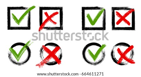 Tick and cross test signs set, check marks graphic design. YES or NO accept or decline symbol vector buttons for vote, election choice, web. Green symbolic OK checkmark, red X icon, isolated on white.