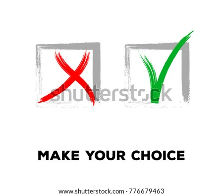 Tick and Cross Vector Collection Square Frames.  Grunge Graffiti Check, Quizz, Voting Symbol Design. Ink Rejection and Acceptance, Query Choice Icons. Tick and Cross as Yes and No Symbolic Marks.
