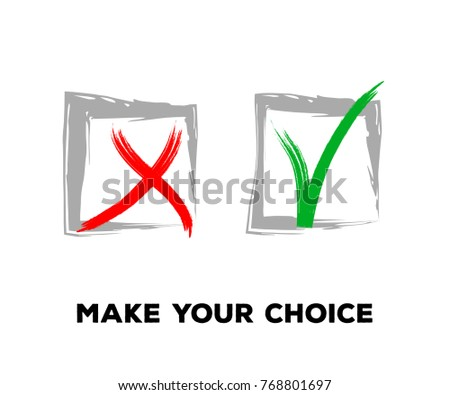 Tick and Cross Vector Collection Square Frames.  Hand Painted Check, Quizz, Voting Symbol Design. Ink Right and Wrong, Good and Bad Query Choice Icons. Yes and No Tick and Cross Symbolic Marks.
