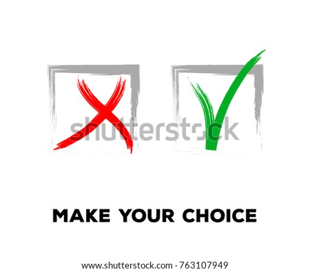 Tick and Cross Vector Set in Square Frames.  Grunge Graffiti Check, Quizz, Voting Symbol Design. Ink Right and Wrong, Good and Bad Query Choice Icons. Yes and No Tick and Cross Symbolic Marks.