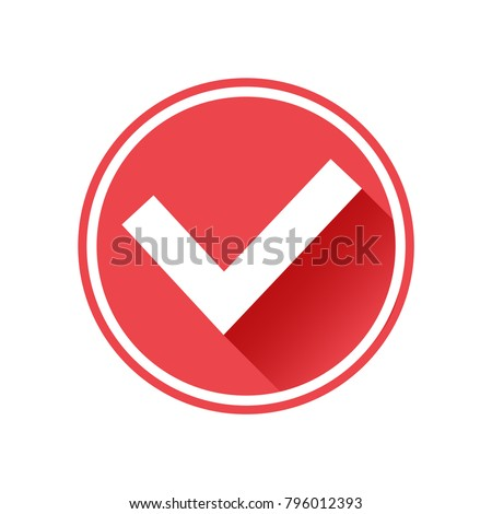 Tick check mark icon. White sign on red button. Vector illustration