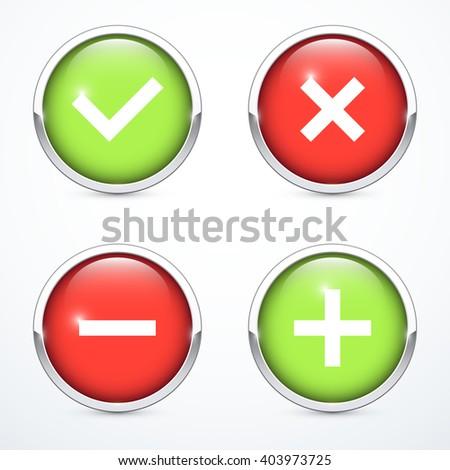 Tick, cross, plus, minus icon set