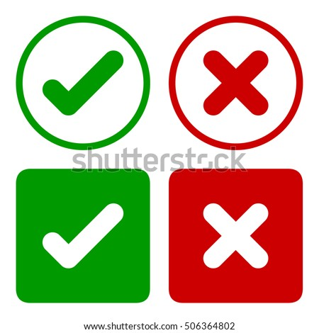 Tick icon set. Check mark icon set in green and red color, vector illustration.
