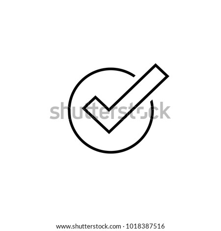 Tick icon vector symbol, line art outline checkmark isolated on white background, checked icon or correct choice sign, check mark or checkbox pictogram