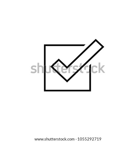Tick icon vector symbol, line outline checkmark isolated on white background, checked icon or correct choice sign, check mark or checkbox square pictogram