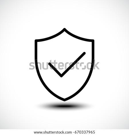 Tick shield security icon. Vector illustration. Stock photo ©