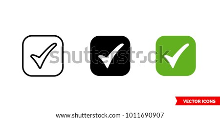 Tick symbol icon of 3 types: color, black and white, outline. Isolated vector sign symbol.