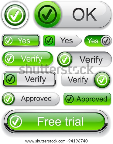 Tick web green buttons for website or app. Vector eps10.