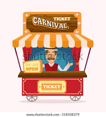 Ticket booth. Vector flat illustration