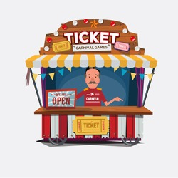 Ticket cart or booth in carnival festival. vintage and retro style with seller .character design. Ticket man. sellers shop - vector illustration