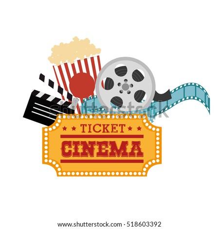ticket cinema reel pop corn and