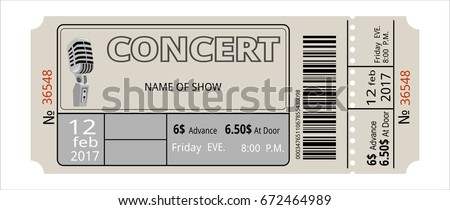 ticket concert invitation, show, coupon, ticket, pass admission entry entrance  Foto stock ©