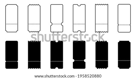 Ticket. Coupon. Tickets or Coupons vector icons. Ticket or Coupon, isolated in linear simple flat design. Vector illustration