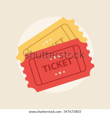 Ticket icon vector illustration in the flat style. Retro ticket stub isolated on a background.  Foto stock ©