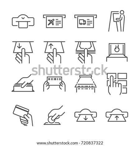 Ticket machine line icon set 1. Included the icons as ticket, barcode, card, scan, machine, withdraw and more.