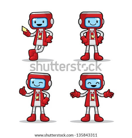 Ticket Machine Robot 4 different poses of ticket machine robot. Vector EPS8 file.