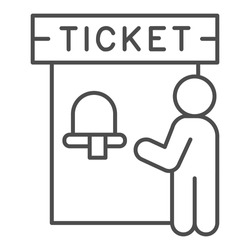 Ticket office and person thin line icon, Public transport concept, ticket box sign on white background, man buy tickets in cashbox icon in outline style for mobile, web design. Vector graphics.