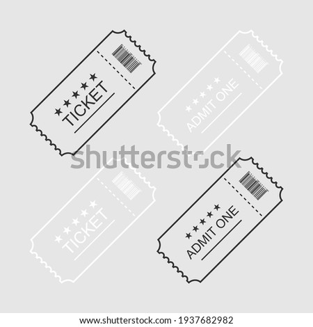 Ticket or Coupon. Tickets or Coupons in simple flat linear design, isolated. Vector illustration