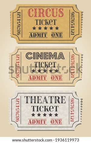 Ticket set icon, vector illustration in the flat style. Ticket stub isolated on a background. Retro cinema or movie, theatre, circus tickets