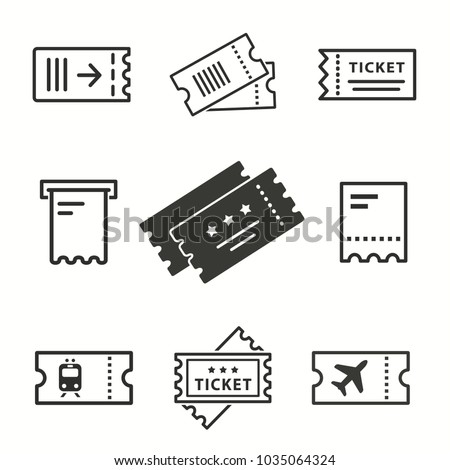 Ticket vector icons set. Black illustration isolated for graphic and web design. Foto stock ©