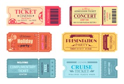 Tickets and admissions set, cinema and cruise trip, birthday invitation, free drinks and fun, presentation and holiday party vector illustration