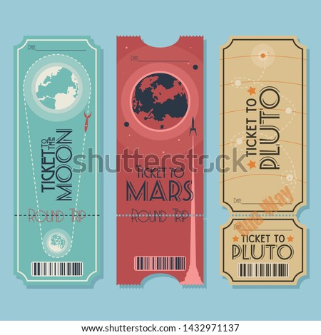 Tickets for Space Travel to the Moon, to Mars, to Pluto, Original Retro Futurism Stickers