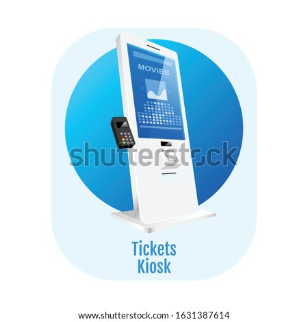 tickets kiosk flat concept icon
