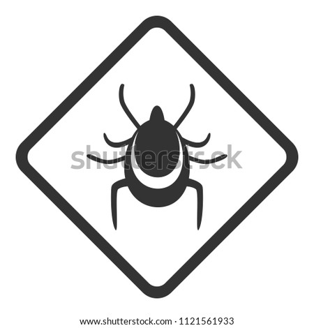 TICKS WARNING sign. Rhombus. Vector.