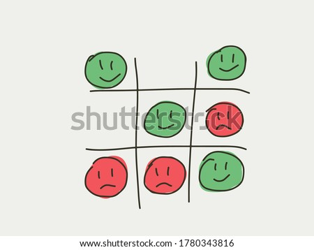 Tictactoe game of happiness and unhappy face. Emotion lifestyle concept game. Tic-tac-toc represent the balance and compete of happy and unhappy time or emotion in life. Life style emotion concept  Foto stock ©