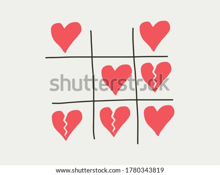 Tictactoe game of love heart and separated breaking heart. Loving marriage relationship, and divorce breakup concept. Happiness love part wins or more heartbreak in the relationship the balance of the love Foto stock ©
